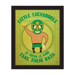 'Little Luchadores Take Their Bath' Graphic Wall Art with Black Frame