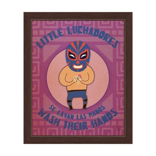 'Little Luchadores Wash Their Hands' Graphic Wall Art Print with Espresso Frame