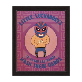 'Little Luchadores Wash Their Hands' Black-framed Graphic Wall Art