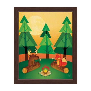 'Moose and Fox by the Campfire' Graphic Wall Art Print with Espresso Frame