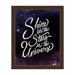 'Shine Like the Stars in the Universe' Espresso-framed Graphic Wall Art
