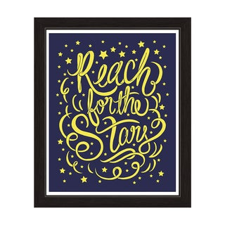 'Reach for the Stars' Yellow on Navy Blue Graphic Wall Art with Black Frame