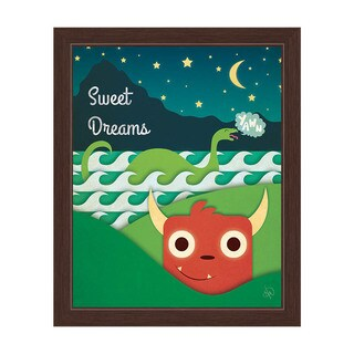 'Sweet Dreams Monsters Under the Stars' Multicolor Graphic Wall Art with Espresso Frame
