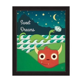 'Sweet Dreams Monsters Under the Stars' Graphic Wall Art with Black Frame