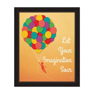 Art and Photo Decor 'Let Your Imagination Soar' Black-framed Graphic Balloons Wall Art