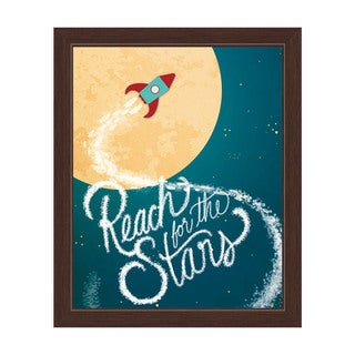Art and Photo Decor 'Reach for the Stars on a Little Rocketship' Graphic Wall Art Print with Espresso Frame