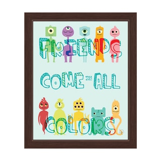 'Friends Come in All Colors' Cute Monsters Graphic Wall Art with Espresso Frame