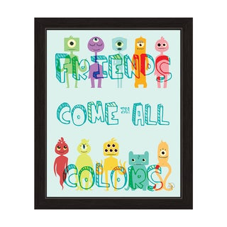 'Friends Come in All Colors' Cute Monsters Graphic Wall Art with Black Frame
