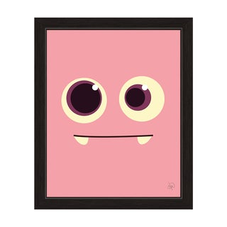 'Pink Monster' Graphic Wall Art with Black Frame