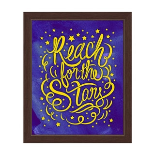 'Reach for the Stars' Espresso Frame Graphic Wall Art
