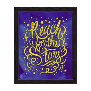'Reach for the Stars' Black Frame Graphic Wall Art Print