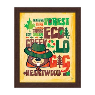 'Nature Beaver' Graphic Wall Art with Espresso Frame