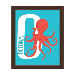 'O is for Octopus' Espresso-framed Graphic Wall Art