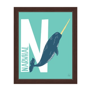 'N is for Narwhal' Espresso Framed Graphic Wall Art