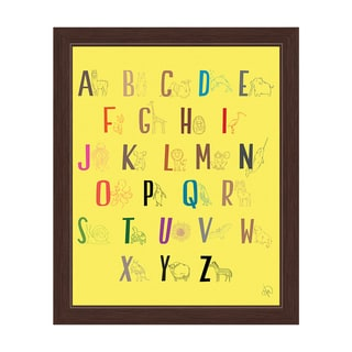 'A to Z Line Animals' Yellow Graphic Wall Art with Espresso Frame