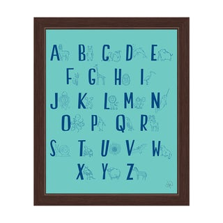 'A to Z Line Animals' Green Graphic Espresso Framed Wall Art