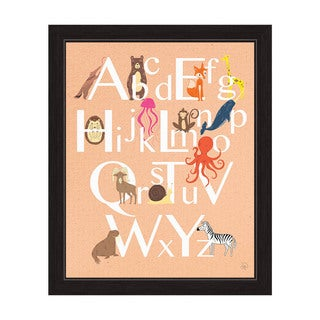 'A to Z Animals' Graphic Wall Art with Black Frame