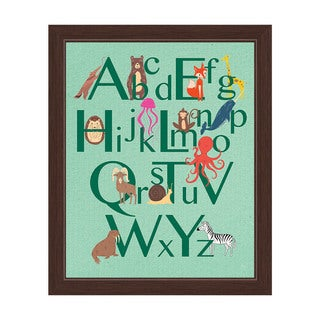 'A to Z Animals' Green Graphic Wall Art with Espresso Frame