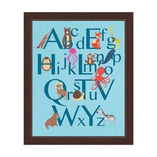 'A to Z Animals' Blue Graphic Wall Art Espresso Frame Print