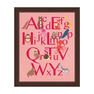 'A to Z Animals' Pink Graphic Wall Art with Espresso Frame