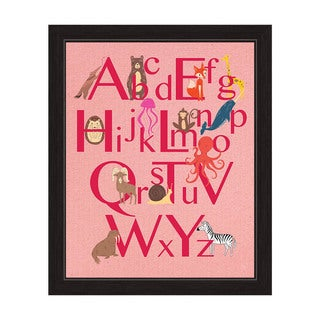 Art and Photo Decor 'A to Z Animals' Pink Graphic Wall Art with Black Frame
