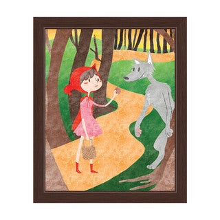 'Big Friendly Wolf' Child's Graphic Wall Art with Espresso Frame