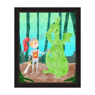 'Child's Dragon Fantasy' Black Frame Graphic Wall Art