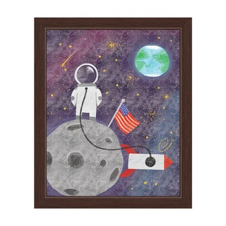 'Space Explorer' Children's Graphic Wall Art With Espresso Frame