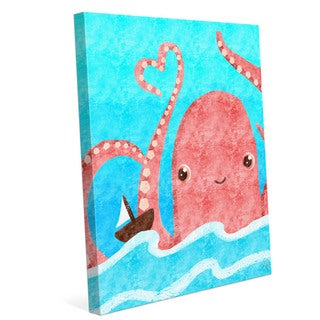'Friendly Octopus' Children's Graphic Wall Art on Canvas