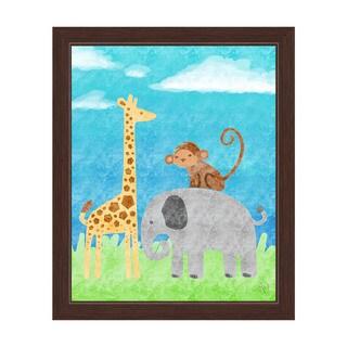 Children's Wild Animals Graphic Wall Art Print with Espresso Frame