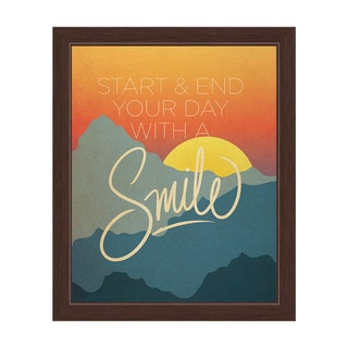 'Start & End Your Day with a Smile' Sunrise and Sunset Graphic Wall Art with Espresso Frame
