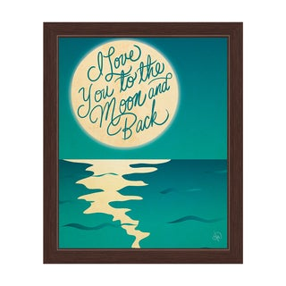 'I Love You to the Moon and Back' Moon over Water Graphic Wall Art with Espresso Frame
