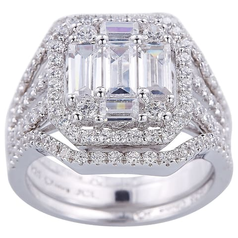 Set of 3 Bridal Style Baguette and Round Cubic Zirconia Sterling Silver Ring