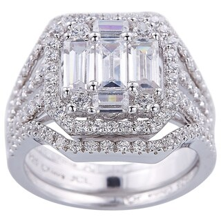 Engagement-style Stackable Silver Ring with Baguette and Round - White