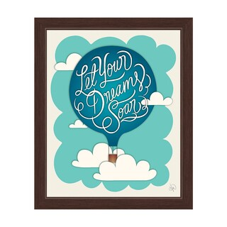 'Let your Dreams Soar' Hot Air Balloon Graphic Wall Art with Espresso Frame