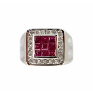 Kabella 18k White Gold Ruby/Diamond Men's Accent Ring