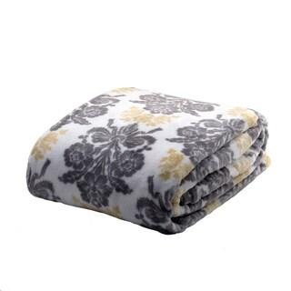 Laura Ashley Tatton Damask Supreme Velvet Printed Plush Blanket