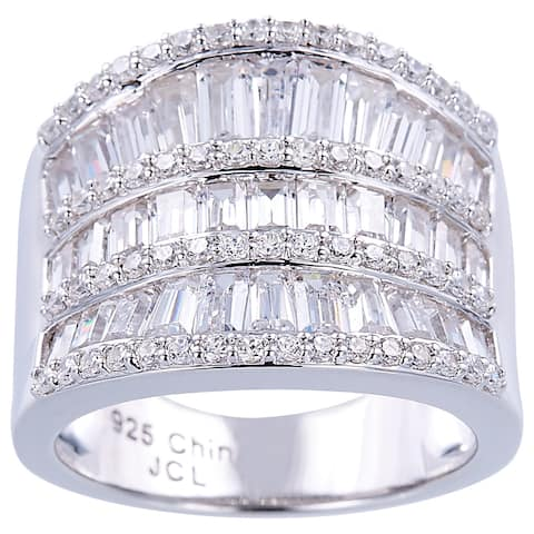 Invisible Set Baguette Cubic Zirconia Cocktail Sterling Silver Ring