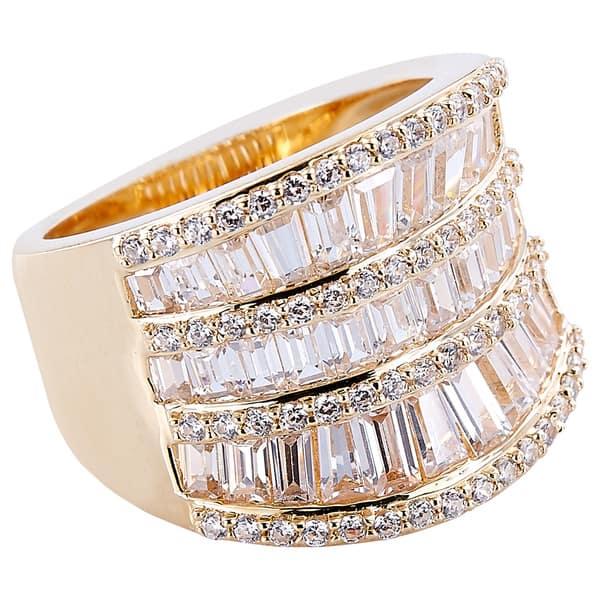 Sterling Silver Gold Tone Channel Set cubique zircone Baguette Swirl élégant Cocktail Ring 7