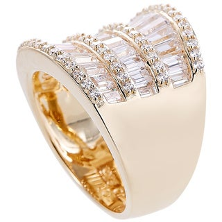 Baguette CZ Saddle-style Silver Ring