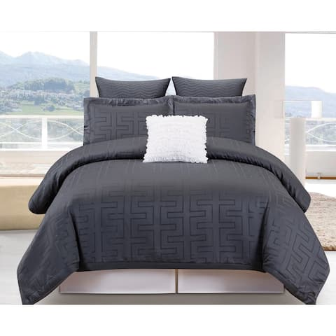 Schillman Grey 6-Piece Oversized Overfilled Comforter Set