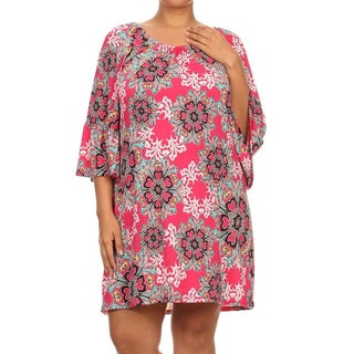 MOA Collection Women's Plus-size Floral Ornate Dress