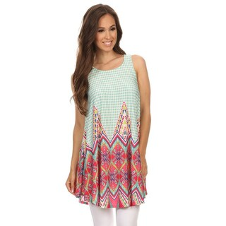 MOA Collection Women's Multicolored Polyester/Spandex Sleeveless Ornate Top