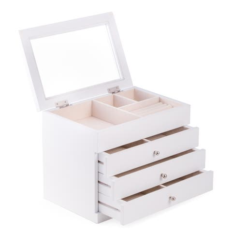 Nadja White Wood Jewelry Case