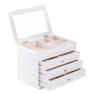 Nadja White Wood Jewelry Case