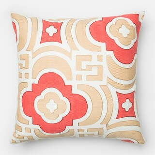 Screen Printed Sand/ Red Moroccan Feather and Down Filled or Polyester Filled 18-inch Throw Pillow or Pillow Cover