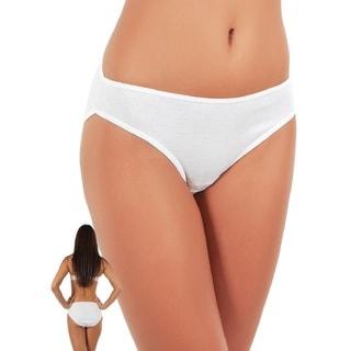 Miorre Women's White 100-percent Cotton Low Rise Bikini Panties