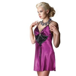 Miorre Women's Purple Deep Plunge Chemise With Black Triangle Panel