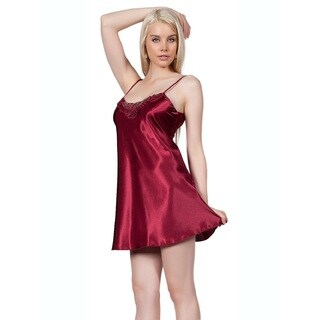 Miorre Women's Red Polyester Chemise Nightgown with Lace Detail