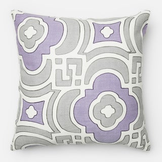 Screen Printed Grey/ Plum Moroccan Feather and Down Filled or Polyester Filled 18-inch Throw Pillow or Pillow Cover